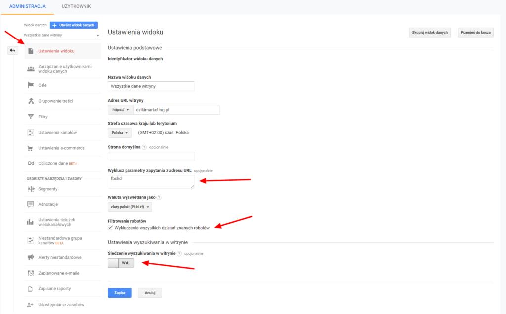 Usunięcie fbclid z google analytics