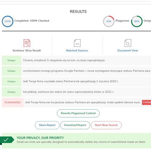 Darmowe narzędzia SEO - plagiarism checker