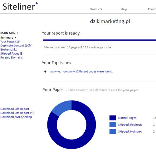 Darmowe narzędzie SEO - Siteliner