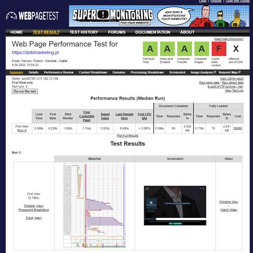 Darmowe narzędzia SEO - Webpagetest